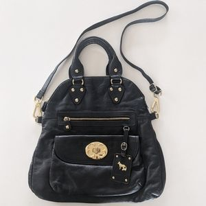 Emma Fox Black Leather Fold Over Satchel Handbag